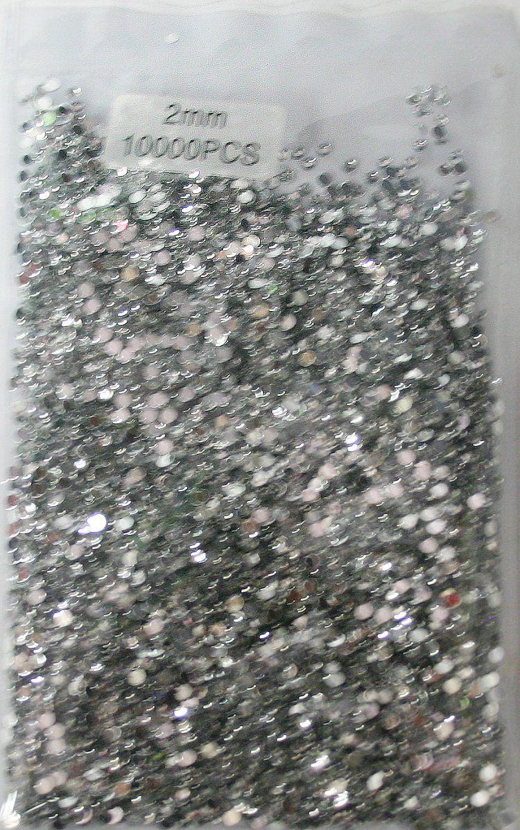 10,000 pcs 2mm Round Nail Art Crystal Rhinestone Tips