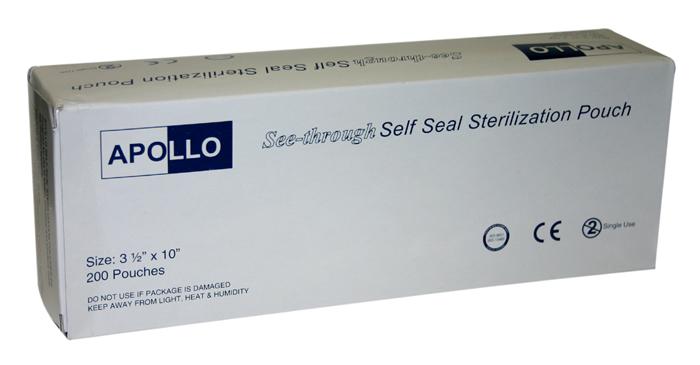 """Apollo Sterilization Pouch  200pcs/box 3.5""""X7.5"""""""